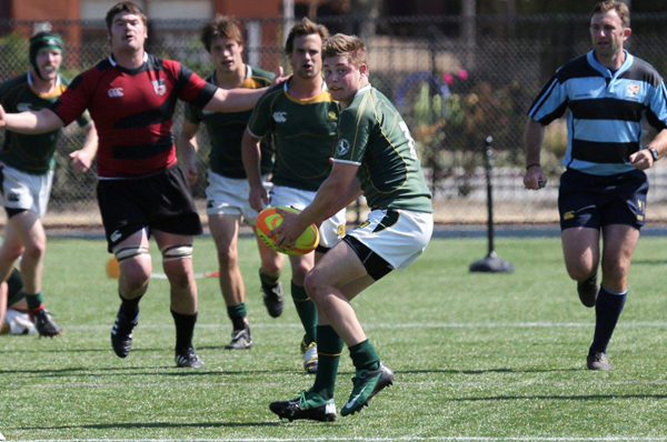 Flyhalf Scott Heath on attack for Cal Poly. Photo Karen Drinkwater