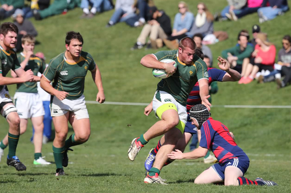 Cal Poly was close with St. Mary's in March, and isn't shying away in the DI-A semis, either. Prop Eric Parsons on the charge. Photo Karen Drinkwater