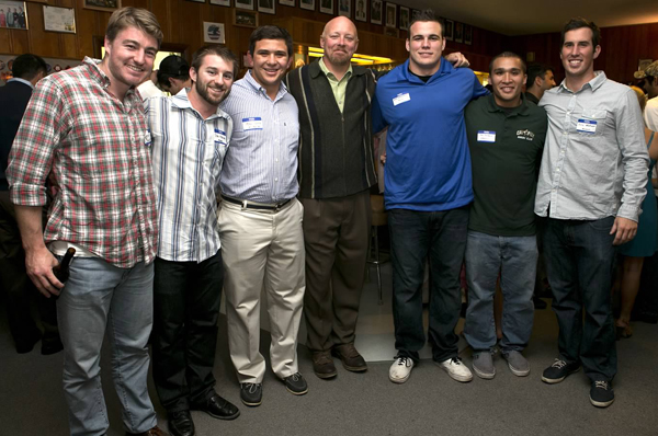 (L to R) Stu Sharpe 10', Colin Malcom 11', Ben Crosby 13', Former Head Coach Nick Massman 90', Aaron Bordenave 12', Joe Saldana 12', Nick Watson 11' at the 2012 Founders Dinner. Photo Karen Drinkwater