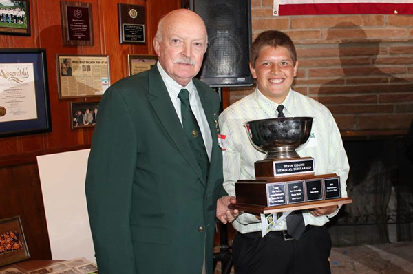 Gary Higgins with Kevin Higgins Memorial Scholarship recipient Aaron Arenas. Photo Phil Bezouska