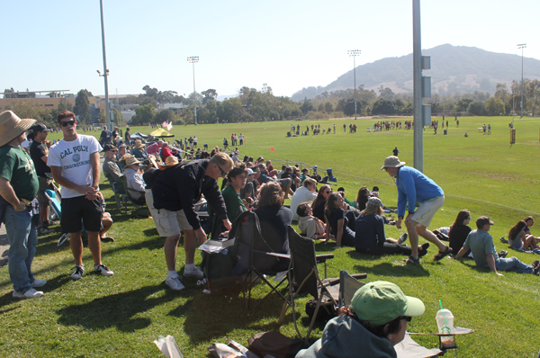 The West Coast 7s crowd enjoy the sunshine and view at the Cal Poly Rec Fields.