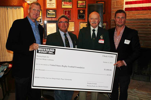 Mustang Ruby Inc donate $1,000 to the United State Rugby Foundation. Brian Vizard (USRF), Charles Zanoli (MRI), Gary Higgins and David Burnett (Cal Poly Rugby). Photo Phil Bezouska