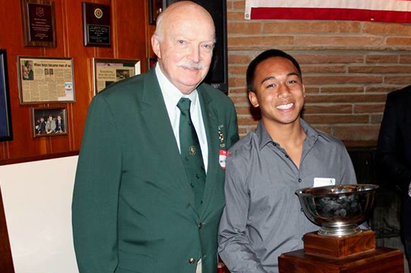 Gary Higgins with Kevin Higgins Memorial Scholarship recipient Kelii Dominguez. Photo Phil Bezouska