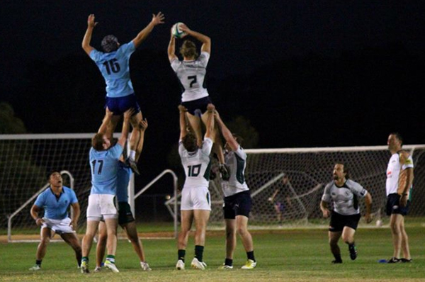 Matt Ryan takes the lineout against Cal Poly team mate Mark Grzanich.