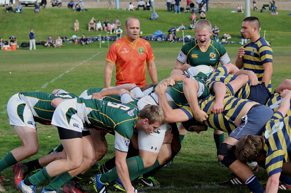 Cal Poly scrums down against the strong Keelhaulers pack. Photo by Phillip Bezouska?