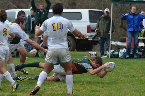 Cal Poly's Joey Cremen reaches out for the try. Photo Leanna Long