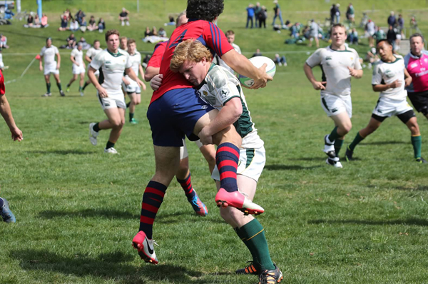 Cal Poly 2nd XV captain Nate Nunno gets physical with the Gaels last season. Photo Karen Drinkwater