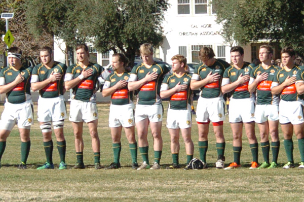 The Cal Poly 1st XV sing the national anthem before the D1A opener against UC Davis. Photo Jan Piper