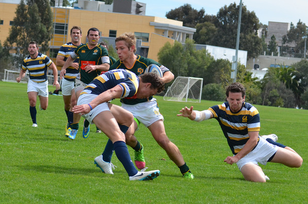 Matt Long scoring his second try of the weekend, stepping through the Cal backs. Photo Leanna Long.