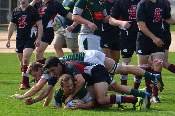 Leacox crashes in for a try late in the second half. Photo Leanna Long.