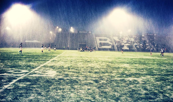 The first time in 22 years it has snowed during a BYU rugby match in Provo.