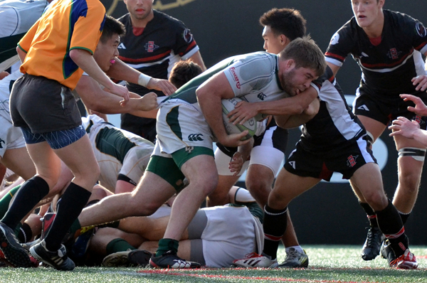 2nd XV prop Drew Meulman on his way to the try line. Photo Leanna Long