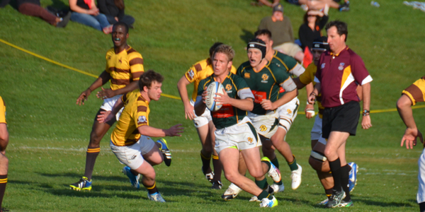 Freshman wing Matt Long on his way to the try line for the first of four times against Wyoming. Photo Leanna Long