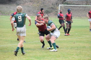 Sophomore prop Connor Cudeback against SLO Men's RFC. Photo Daniel Dempster