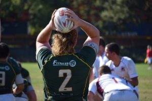 Junior hooker Eddie McFarland prepares for a lineout against Chico State. Photo Daniel Dempster