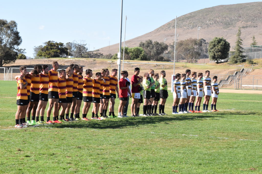 Arizona State and Cal stand for the national anthem before the championship match of the 2015 West Coast Sevens. Photo Daniel Dempster